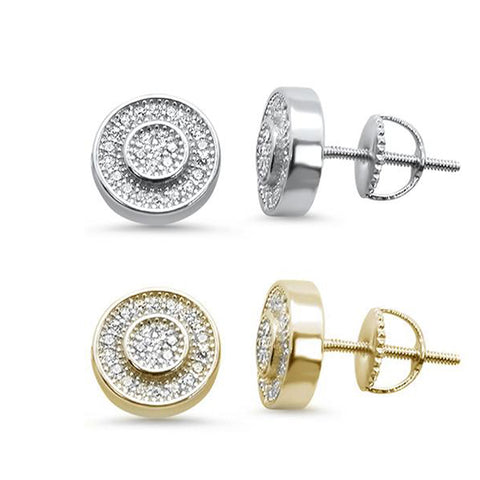 9MM Round Halo CZ .925 Sterling Silver Stud Earrings Colors Available