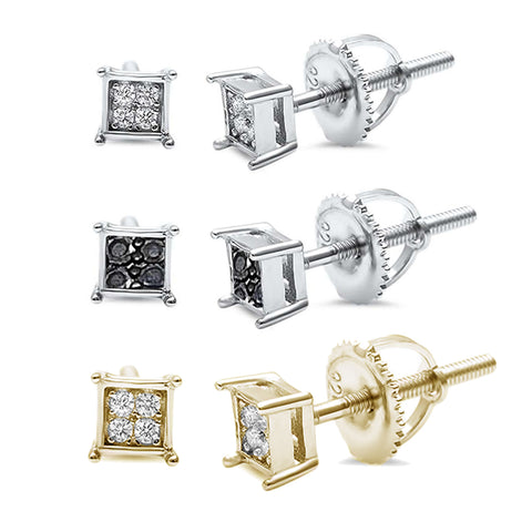 4MM Square Princess Cut CZ .925 Sterling Silver Stud Earrings Colors Available!