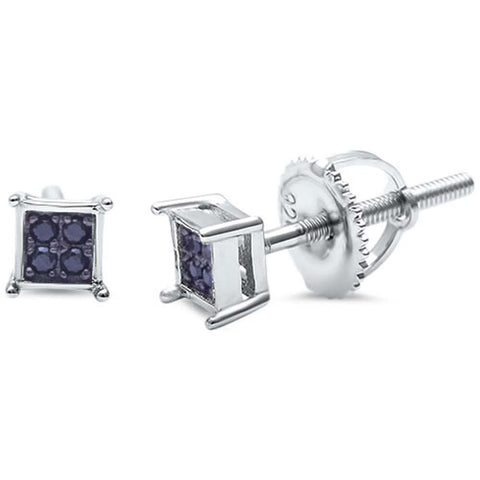 Square Black Onyx .925 Sterling Silver Stud Earrings