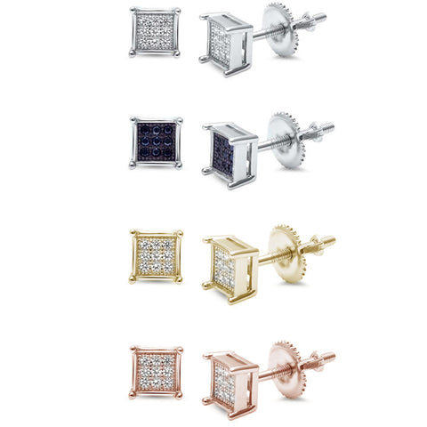 6MM Micro Pave Princess Cut CZ  .925 Sterling Silver Stud Earrings Colors Available!