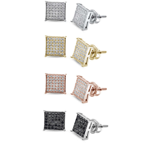 8MM Micro Pave Princess Cubic Zirconia .925 Sterling Silver Stud Earrings Colors Available!