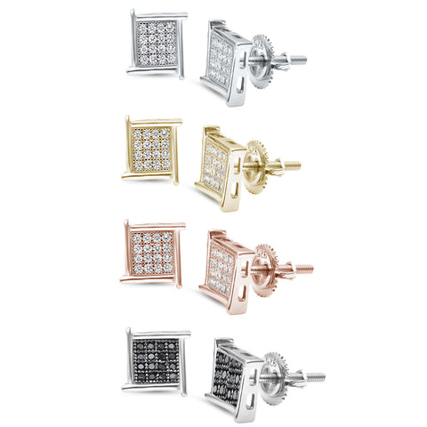 8MM Princess Cut Micro Pave Modern .925 Sterling Silver Stud Earrings Colors Available!