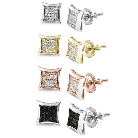 8MM Square Micro Pave Modern .925 Sterling Silver Stud Earrings Colors Available!