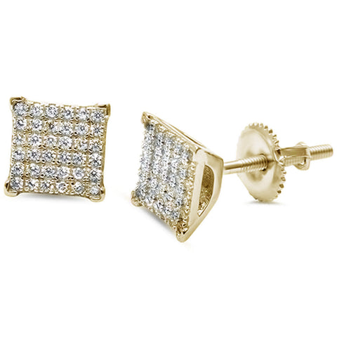 Yellow Gold Plated Square Micro Pave Hip Hop .925 Sterling Silver Earrings