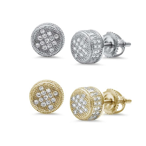 8MM Micro Pave Round Raised Stud .925 Sterling Silver Earrings Colors Available!