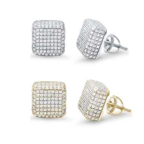 10MM Micro Pave Hip Hop Square Stud .925 Sterling Silver Earrings Colors Available!