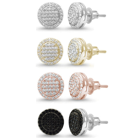 10MM Micro Pave Round Halo Studs .925 Sterling Silver Earrings Colors Available!