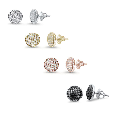 8MM Round Micro Pave studs .925 Sterling Silver Earrings Colors Available!