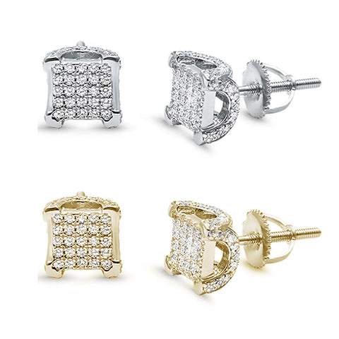 Square Micro Pave Stud .925 Sterling Silver Earrings COLORS Available