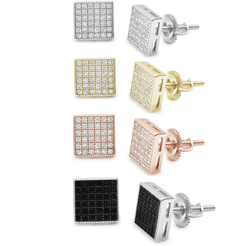 8MM Square Mirco Pave Stud .925 Sterling Silver Earrings Colors Available!
