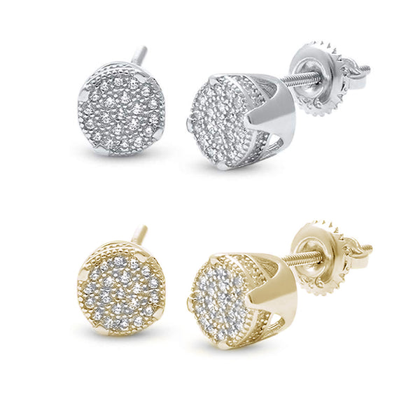 7MM Round Micro Pave CZ .925 Sterling Silver Earrings