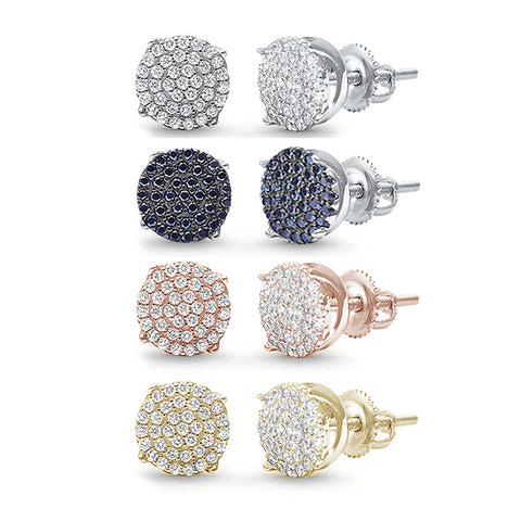 6MM Available 4 Colors Round Micro Pave .925 Sterling Silver Earrings