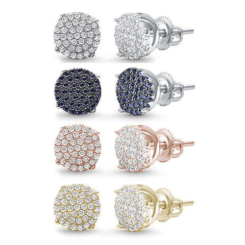 8MM Available 4 Colors Round Micro Pave .925 Sterling Silver Earrings