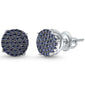 10MM Available 4 Colors Round Micro Pave .925 Sterling Silver Earrings