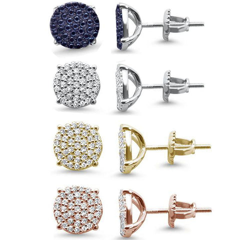 10MM Micro Pave Round CZ .925 Sterling Silver Stud Earrings Color Available!