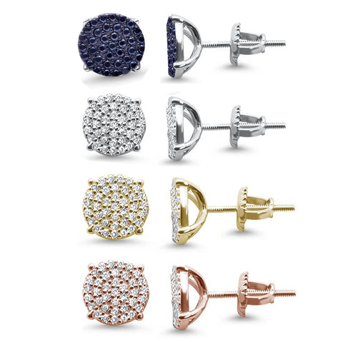 8MM Micro Pave Round CZ .925 Sterling Silver Stud Earrings