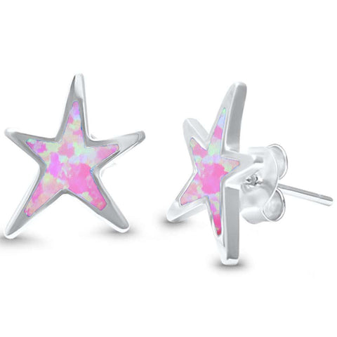 Lab Created Pink Opal Star .925 Sterling Silver Earrings
