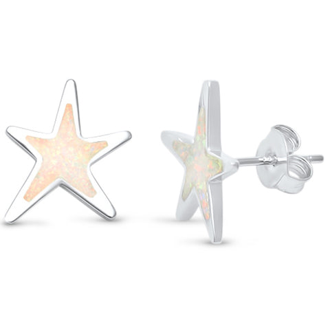 Lab Created White Opal Star .925 Sterling Silver Earrings