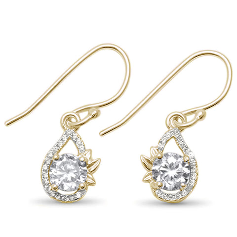Yellow Gold Plated Round Cz Dangle .925 Sterling Silver Earrings