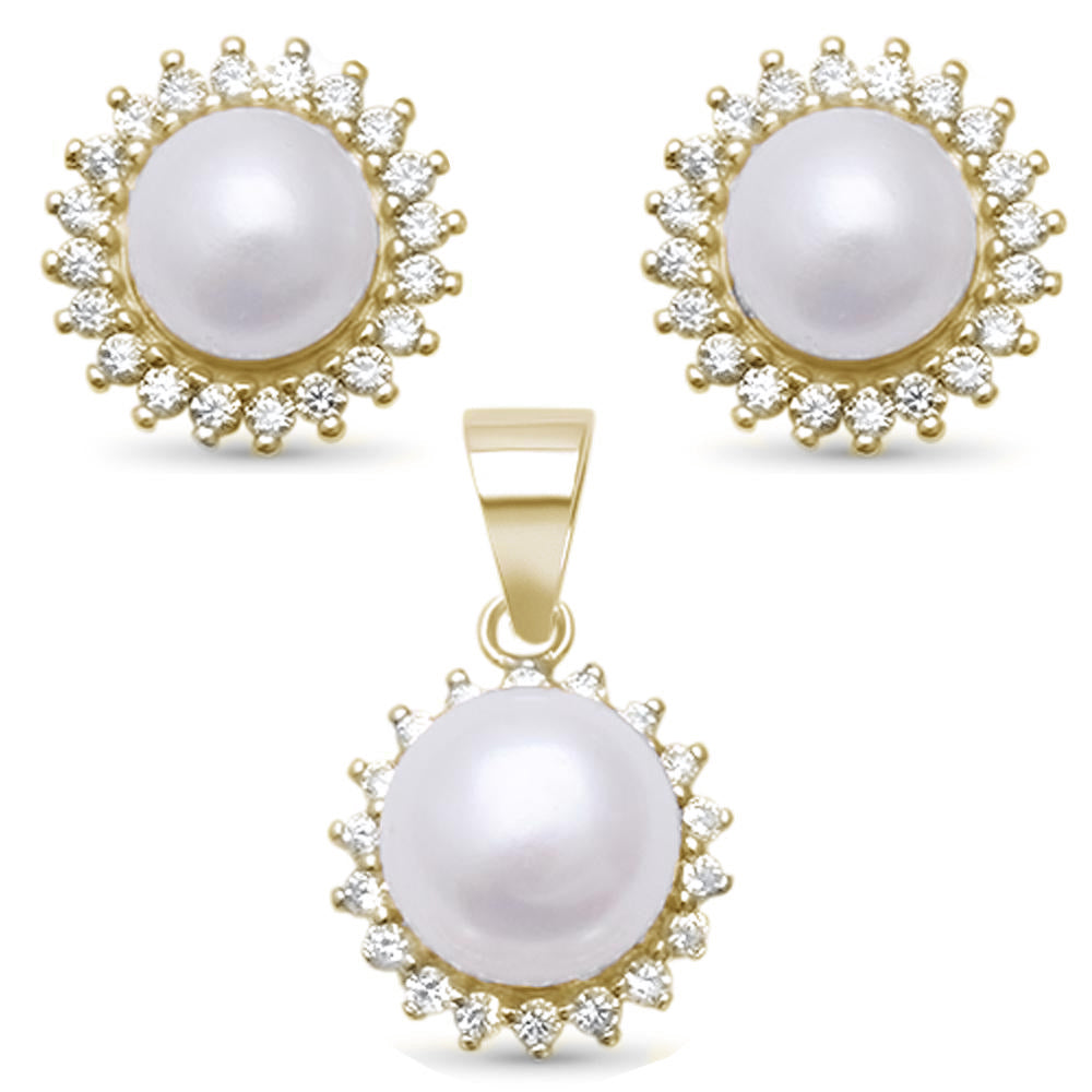 <span>CLOSEOUT!</span> Yellow Gold Plated Round Pearl & Cubic Zirconia .925 Sterling Silver Pendant & Earring Set