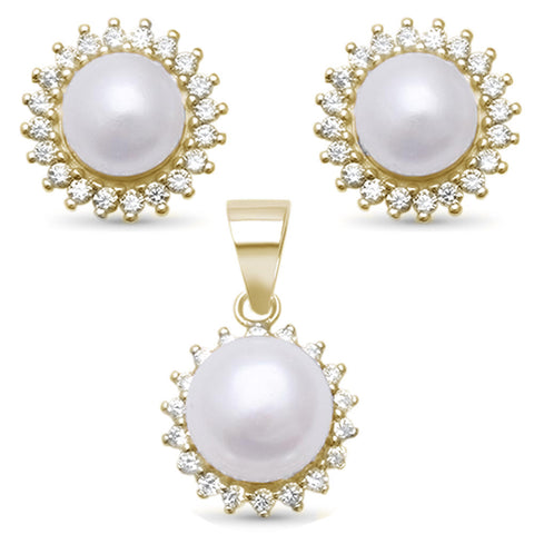 Yellow Gold Plated Round Pearl & Cubic Zirconia .925 Sterling Silver Pendant & Earring Set