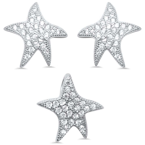 Cute Starfish Cubic Zirconia .925 Sterling Silver Earring & Pendant set 0.5""