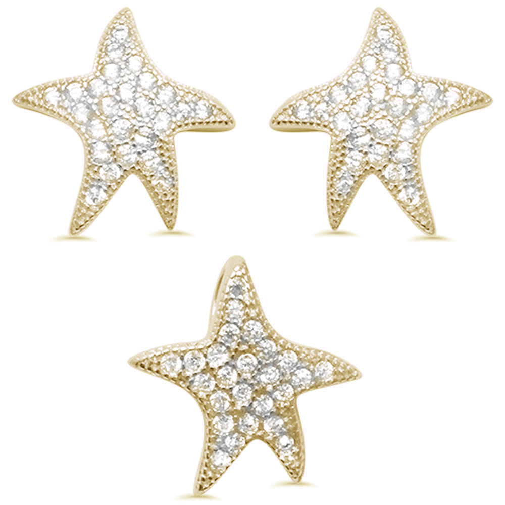 Cute Yellow Gold Plated Starfish Cubic Zirconia .925 Sterling Silver Earring & Pendant set 0.5""