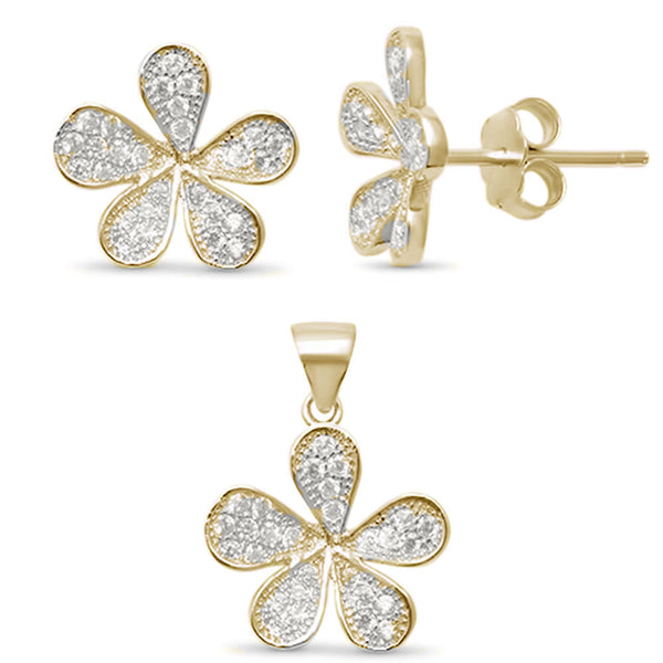 Yellow Gold Plated Cubic Zirconia Flower .925 Sterling Silver Set