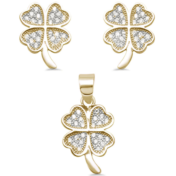 Yellow Gold Plated 4 Leaf Clover Micro Pave Earring & Pendant .925 Sterling Silver Set