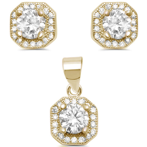 Yellow Gold Plated Cubic Zirconia Halo Earring & Pendant .925 Sterling Silver Set