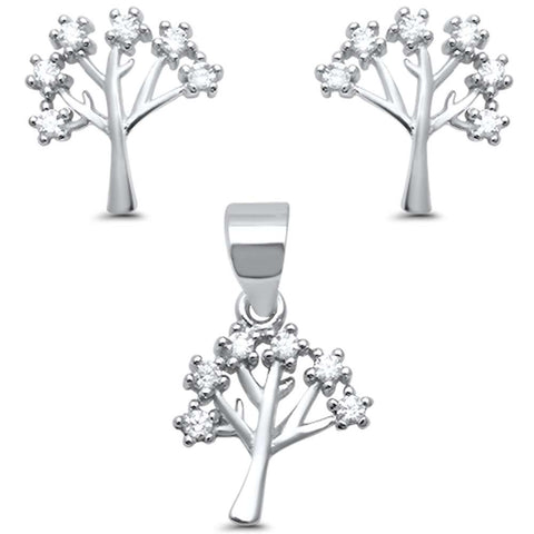 Family Tree of Life CZ .925 Sterling Silver Earring & Pendant set 0.5""