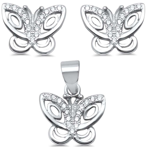 Cute Cubic Zirconia Butterfly .925 Sterling Silver Earring & Pendant set 0.5""