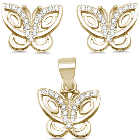 Yellow Gold Plated Cute Cubic Zirconia Butterfly .925 Sterling Silver Earring & Pendant set 0.5""
