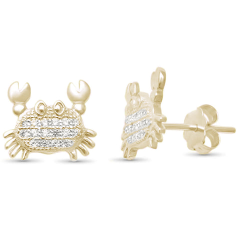 Cute! Micro Pave Cubic Zirconia Yelloe Gold Crab Cancer .925 Sterling Silver Earrings