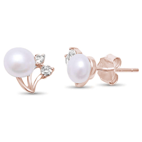 Rose Gold Plated Elegant Pearl & Cubic Zirconia .925 Sterling Silver Earrings