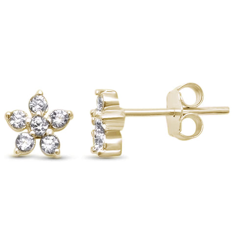 Elegant! Cubic Zirconia Yellow Gold Plated Cluster Flower .925 Sterling Silver Earrings
