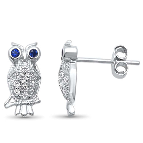 Cute! Whimsical Micro Pave Owl .925 Sterling Silver Earrings