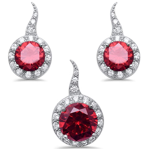 Ruby Three Piece Solitaire Earring & Pendant .925 Sterling Silver Set