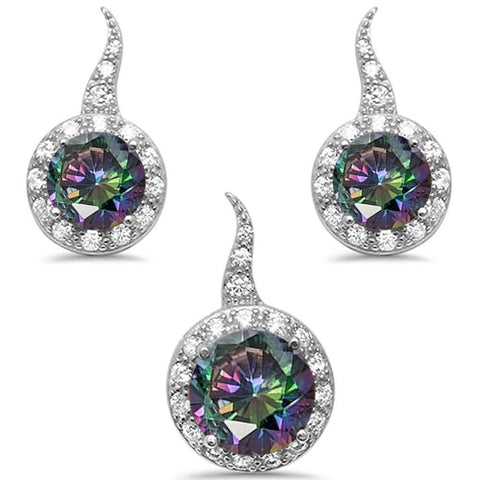 Rainbow Topaz three Piece Solitaire Earring & Pendant .925 Sterling Silver Set