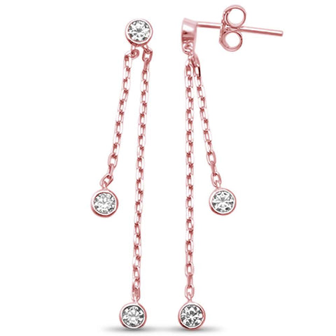 Rose Gold Plated Bezel Dangling Cubic Zirconia .925 Sterling Silver Earrings