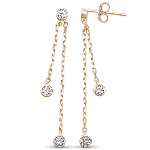 Yellow Gold Plated Bezel Dangling Cubic Zirconia .925 Sterling Silver Earrings