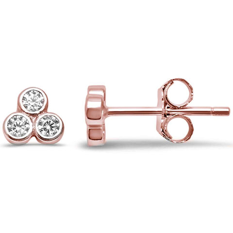 Cute Rose Gold Plated CZ 3 Stone Stud .925 Sterling Silver Earrings