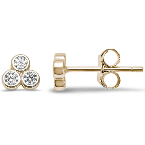 Cute Yellow Gold Plated CZ 3 Stone Stud .925 Sterling Silver Earrings