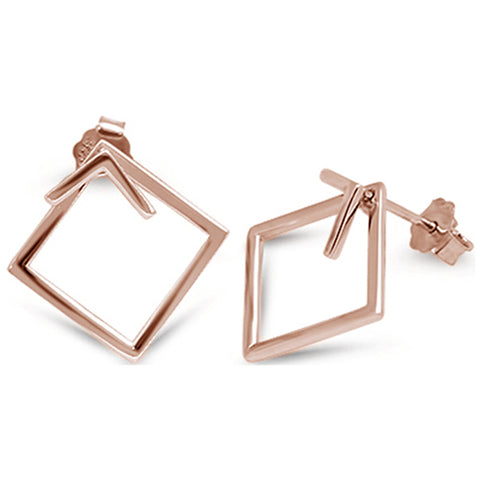 Rose Gold Plated Square Hoop .925 Sterling Silver Earrings