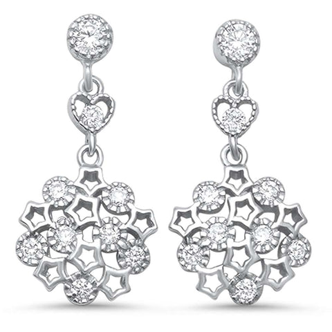 Cubic Zirconia Antique Filigree Drop .925 Sterling Silver Earrings