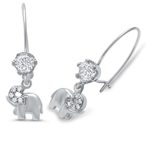 Round Cubic Zirconia Elephant .925 Sterling Silver Earrings