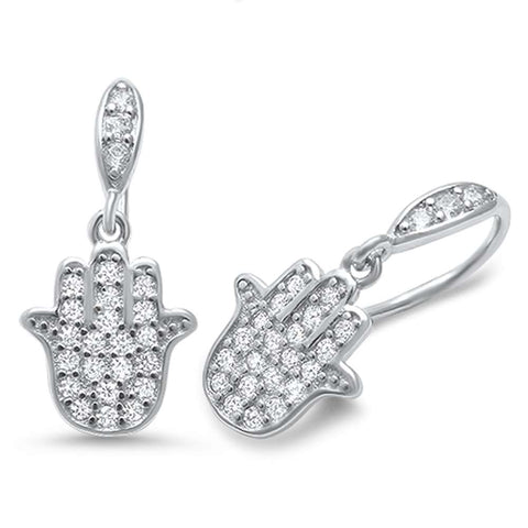 Cubic Zirconia hand of Hamsah Dangle .925 Sterling Silver Earrings