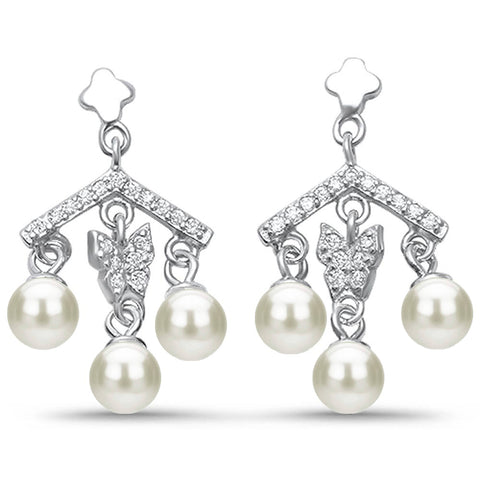Mother of Pearl & Cz Dangle .925 Sterling Silver Earrings