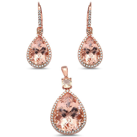 "1.25"" Rose Gold Plated Morganite Pear Shape Drop .925 Sterling Silver Earring & Pendant Set"