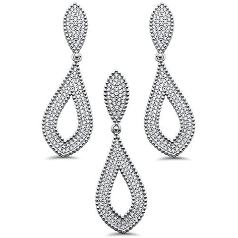 "<span>CLOSEOUT!</span>2.25"" Pave Cubic Zirconia Tear Drop Design Dangling .925 Sterling Silver Earring & Pendant Set"